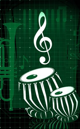 Illustration of a tabla, an Indian music instrument with music notes  illustration