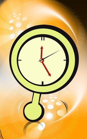 reloj de pendulo: Ilustraci�n de reloj de p�ndulo de color verde