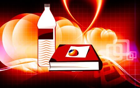 Illustration of book and water bottle