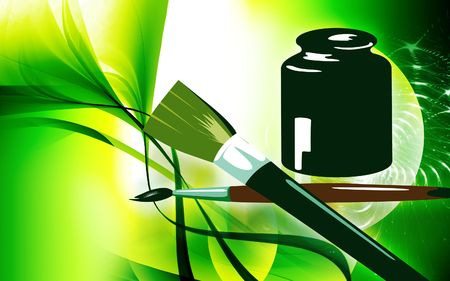 paintjob: Illustration of brushed and paint pot  Stock Photo