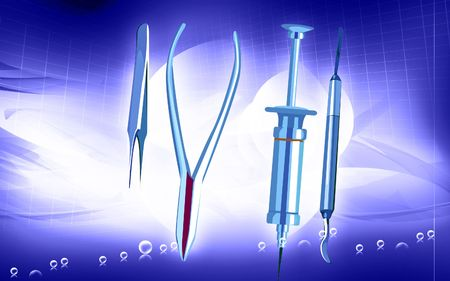 Illustration of a surgical instruments in blue background Stock Illustration - 5774789