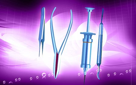 Illustration of a surgical instruments in blue background Stock Illustration - 5774776