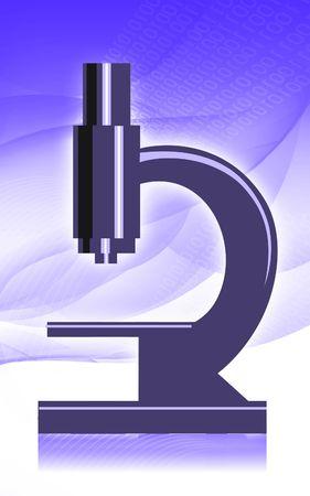 Illustration of a microscope in radiant blue light Stock Illustration - 5774903