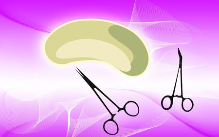 Illustration of a medical tray and scissors  illustration