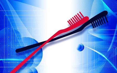 Illustration of red and black tooth brushes Stock Illustration - 5769819