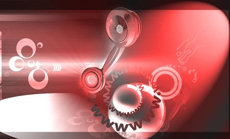 earpiece: Illustration of a telephone receiver with website letters  Stock Photo