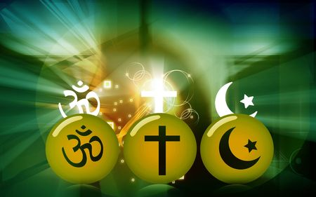 Illustration of three rounds with religious symbols