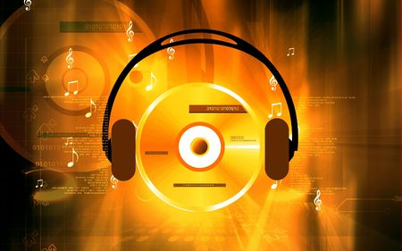 Illustration of a an headphone hearing compact disc Stock Illustration - 5797656