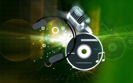 compact disc: Illustration of a compact disc, headphone and microphone  Stock Photo