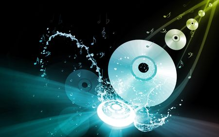 compact disc: Illustration of a compact disc with music notes  Stock Photo
