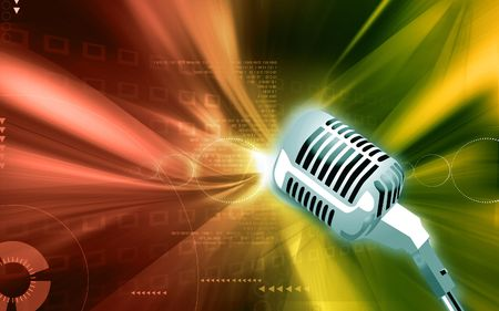 rehearse: Illustration of a Metallic microphone in floral background