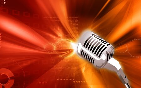 Illustration of a Metallic microphone in floral background