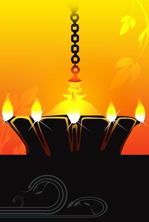 hanging lamp: Illustration of hanging golden divine lamp