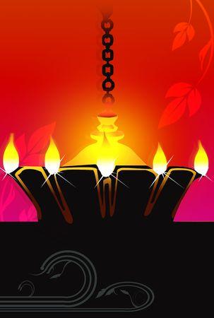Illustration of hanging golden divine lamp  illustration