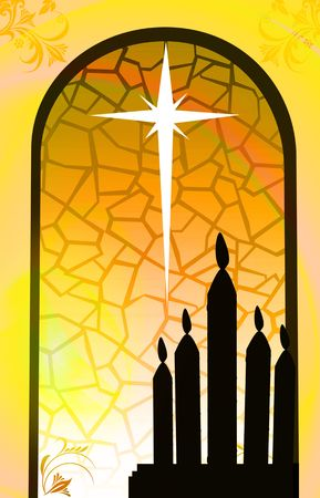 Illustration of candles near a window  Stock Photo