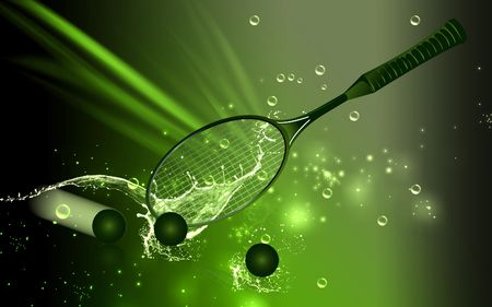 tennisball: A tennis racket and ball placed in a floor  Stock Photo