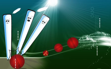 cricketer: Illustration of cricket stump with bail away