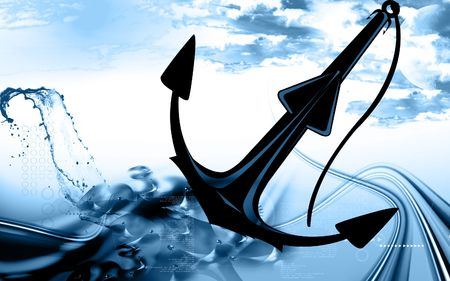 Illustration of a symbol of anchor isolated  Stock Photo