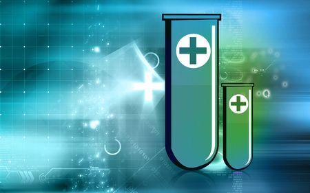 Illustration of test tube with red cross symbol  Stock Photo