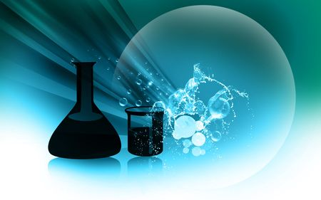 chemical substance: Illustration of glassware in colour   Stock Photo