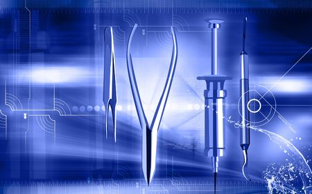 Illustration of a surgical instruments in blue background Stock Photo