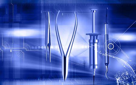 biopsia: Ilustraci�n de un instrumentos quir�rgicos en fondo azul