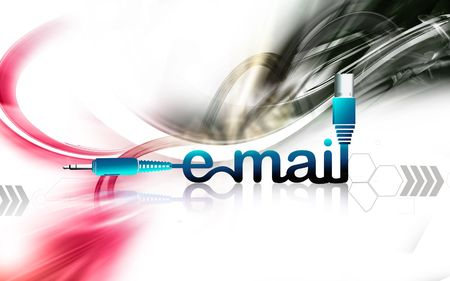 Illustration of a electrical chord with email letters