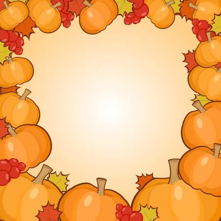 seasonal: Pumpkins and leaves frame background, seasonal autumn border