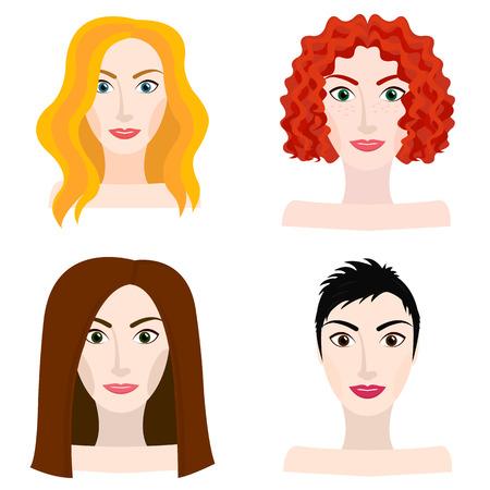 Diferentes tipos de mujer y niña apariencia, rubio, rojo, moreno, de pelo castaño Ilustración de vector