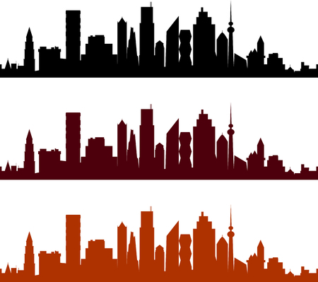 city view: View of a city with skyscrapers, a cityscape silhouette