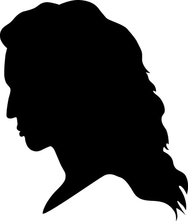 shadowgraph: A black silhouette of a girl Illustration