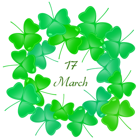 greet: Saint Patricks day Greeting Card with Shamrock or clover