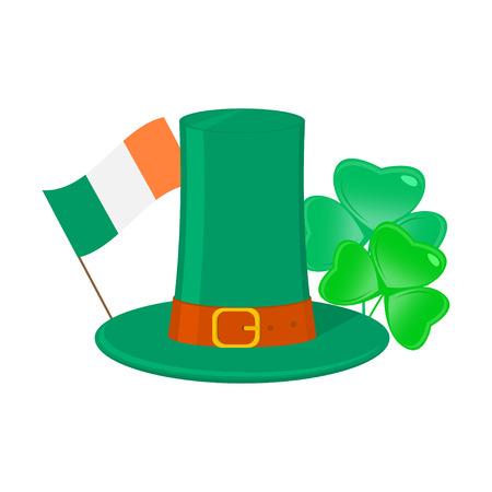 sorrel: Saint Patricks day attributes, Shamrock, irish hat and flag