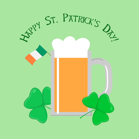 sorrel: Saint Patricks day Greeting Card with Beer, Saint Patricks day attributes Illustration