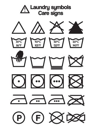 Ensemble de symboles de blanchisserie, des signes de soins et les étiquettes