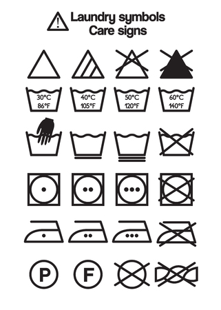 Set of laundry symbols, care signs and labels Çizim