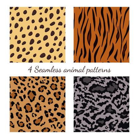 snow leopard: Set of seamless animal patterns