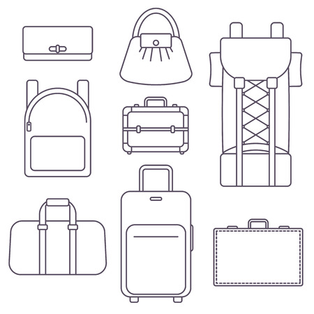 portmanteau: Different types of bags, suitcase, backpack, kinds of luggage Illustration