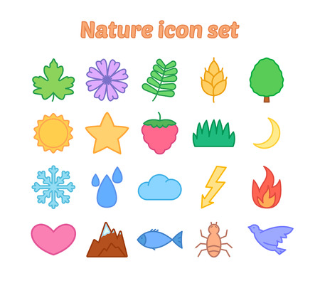 Nature icon set, colorful flat vector icons