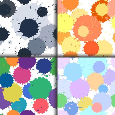 inkblot: Set of ink and paint spots seamless patterns, vector splattered blots background