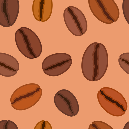 Seamless pattern with coffee beans, vector illustration and background Stock Photo