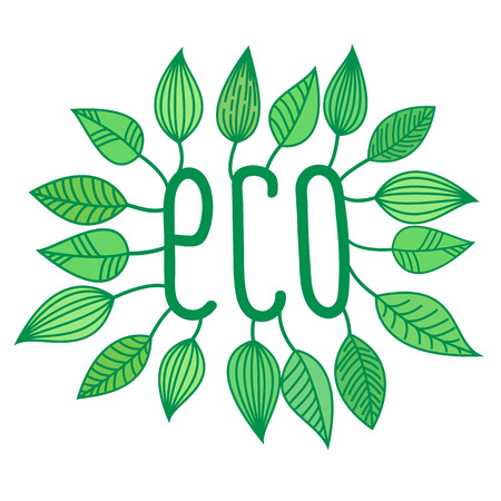 Green eco sign in with growing leaves, vector label and tag, ecological concept sticker Illustration