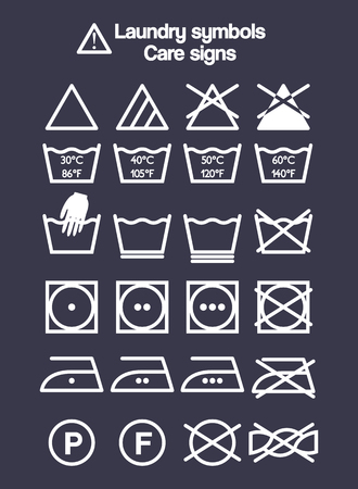 Laundry symbols set, care signs and labels for washing clothes