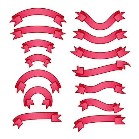 Set of bright pink different ribbons with gradient, red tape banner collection, vector illustration