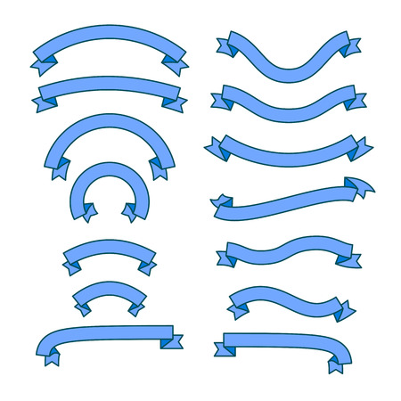 Set of different ribbons, blue tape banner collection, vector illustration