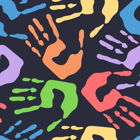 Seamless pattern with human handprints, colorful man hand stamps on dark background, vector illustration Illustration