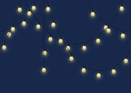 Glowing bulb garland, decorative light garland on dark background, footer and banner lamps, vector illustration