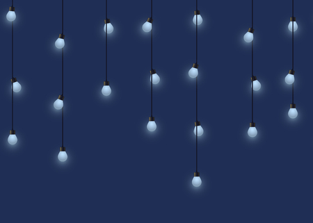 Glowing bulb garland, decorative light garland on dark background, footer and banner lamps, vector illustration, eps 10