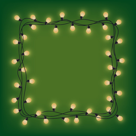 Glowing garland frame, decorative light garland, square place for text from shining lamps, lighting bounding box and border, vector illustration