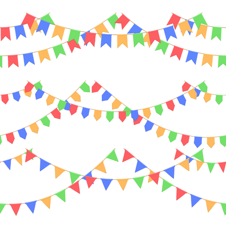 Set of garland with celebration flags chain, red, blue, yellow, green pennons with no background, footer and banner for celebration 矢量图像